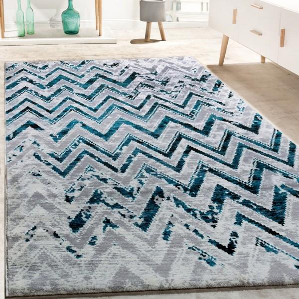 Designer Teppich Wohnzimmer Modern Zick Zack Grau Türkis Creme Meliert