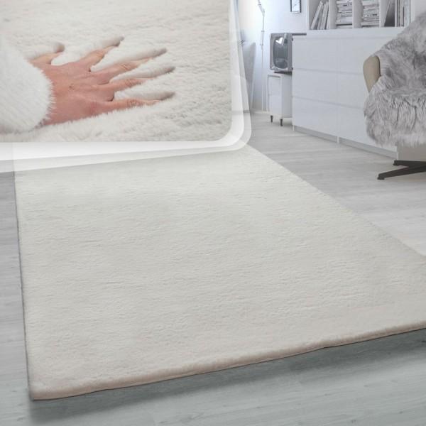 Hochflor-Teppich, Shaggy-Teppich Für Wohnzimmer, Weich Einfarbig, in Beige Creme