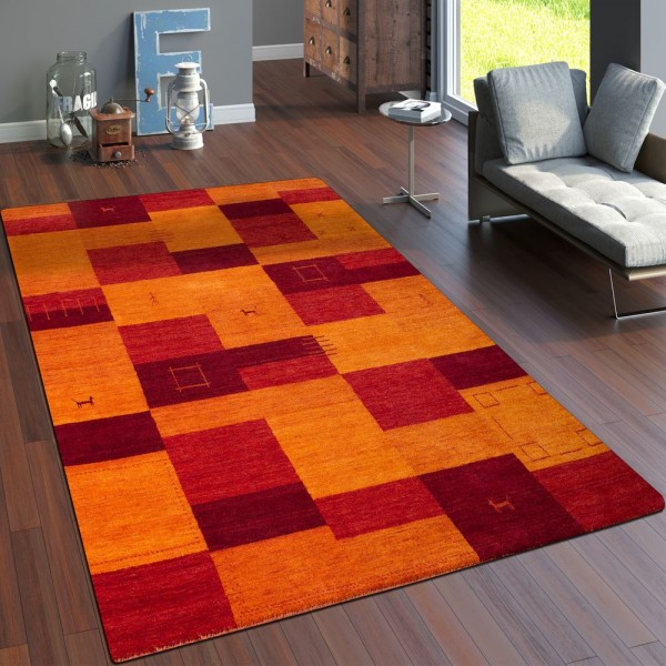 Teppich Handgewebt Gabbeh Hochwertig Meliert 100% Wolle Kariert Multicolor