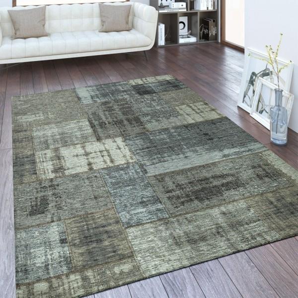 Vintage Flachgewebe Teppich Patchwork Silber Grau