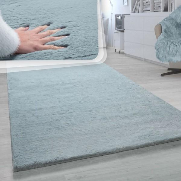 Hochflor-Teppich, Shaggy-Teppich Für Wohnzimmer, Weich Einfarbig, in Türkis