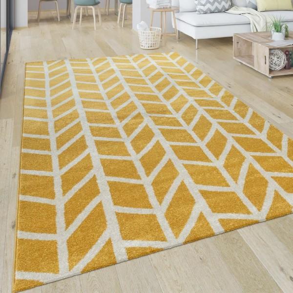 Teppich Wohnzimmer Muster Geometrisch Modern Kurzflor Streifen In Gelb Weiß