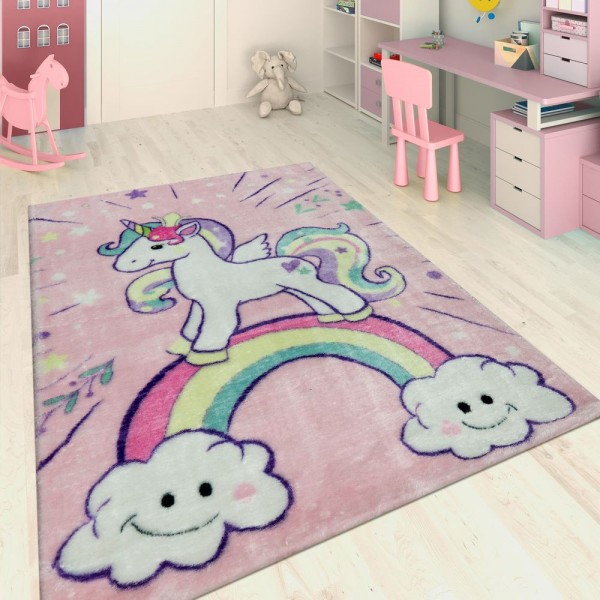 Handgetuftet Kinderteppich Einhorn Pink