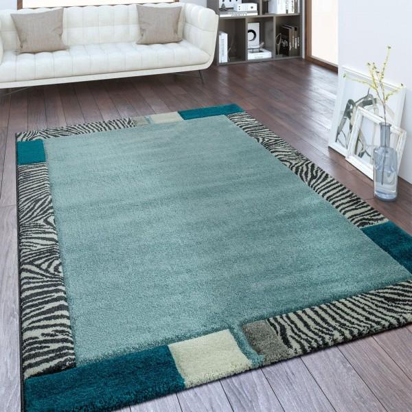 Moderner Kurzflor Teppich Bordüre Animal Design Blau