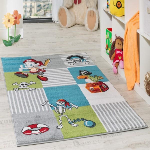 Kinder Teppich Pirat mit Papagei Schatzkiste Kinderzimmer Karo Grün Creme Türkis