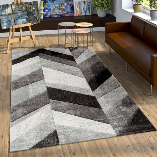 Designer Teppich Modern mit Konturenschnitt Stylish Grau Schwarz Creme Meliert
