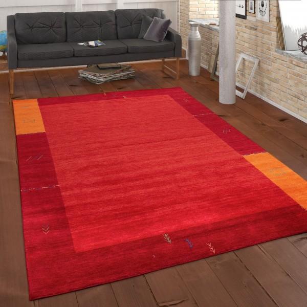 Teppich Handgewebt Gabbeh Qualität 100% Wolle Bordüre Meliert In Orange