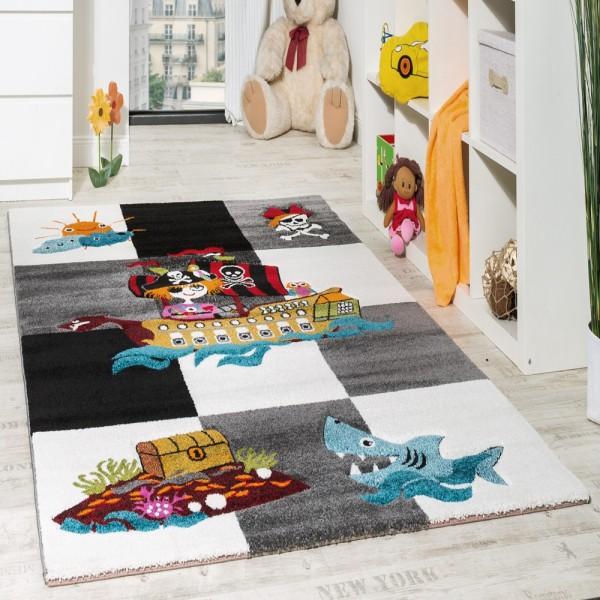 Kinderteppich Pirat Kurzflor mit Konturenschnitt Karo Design Grau Schwarz Creme