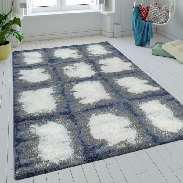 Teppich Wohnzimmer Kurzflor Karo Design Batik In Blau Grau Weiß Retro Modern