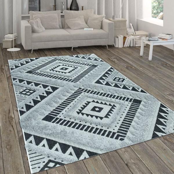 In- & Outdoor-Teppich, Mit Hochflor-Absetzung Und Ethno-Look, In Weiß-Schwarz