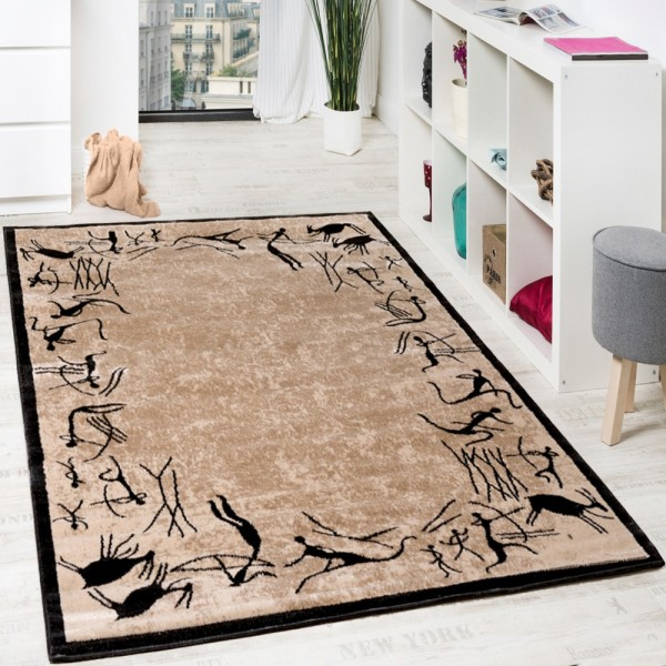 Wohnzimmerteppich Afrika Teppich Design Kurzflor Teppich Modern Beige Schwarz