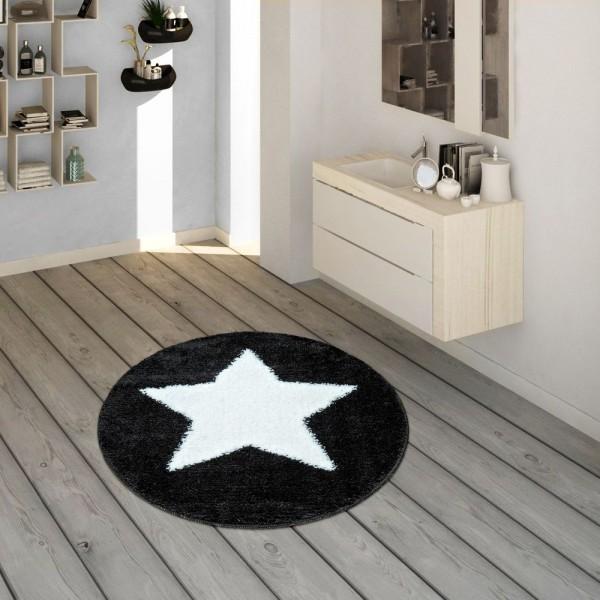 Badematte, Runder Kurzflor-Teppich Für Badezimmer Mit Sternen-Motiv In Schwarz Weiss