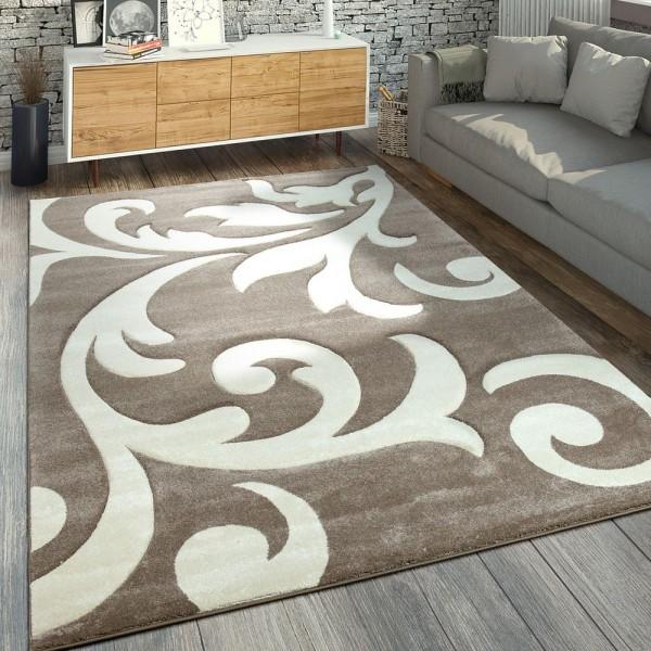 Designer Teppich Florales Muster Beige Creme