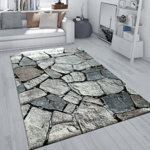 Teppich Grau Wohnzimmer Weich Robust Stein Motiv Fels Muster 3-D-Effekt Kurzflor
