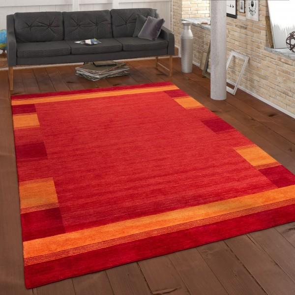 Teppich Handgewebt Gabbeh Qualität 100% Wolle Bordüre Meliert In Orange Gelb
