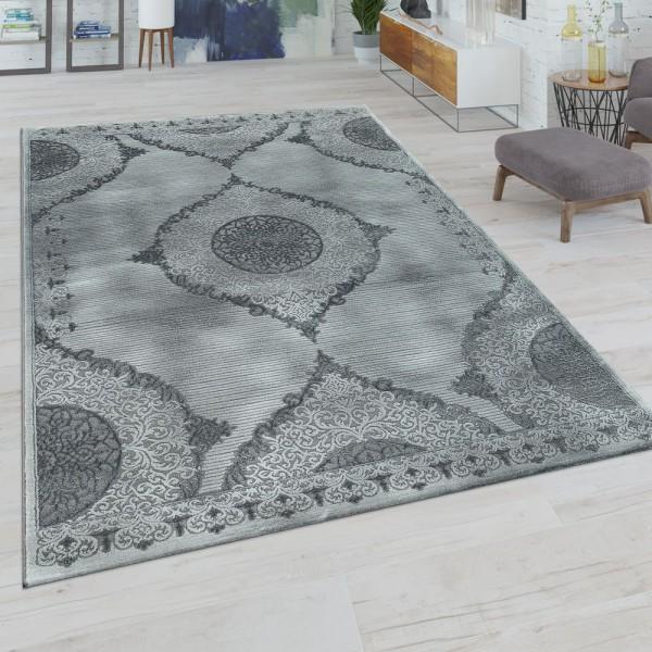 Kurzflor Wohnzimmer Teppich Orientalisches Design Ornamente Bordüre In Grau