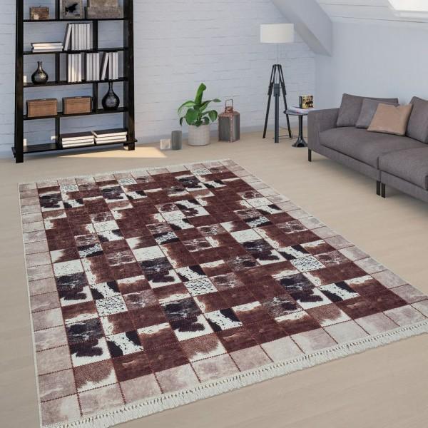 Patchwork Teppich Braun Weiß Wohnzimmer Kuhflecken Karo Design Weich Kurzflor
