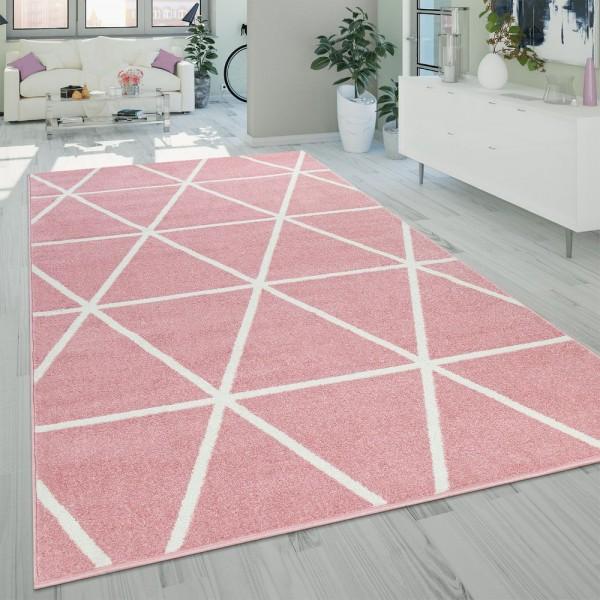 Teppich Rosa Pink Weiß Wohnzimmer Pastellfarben Rauten Design Robust Kurzflor