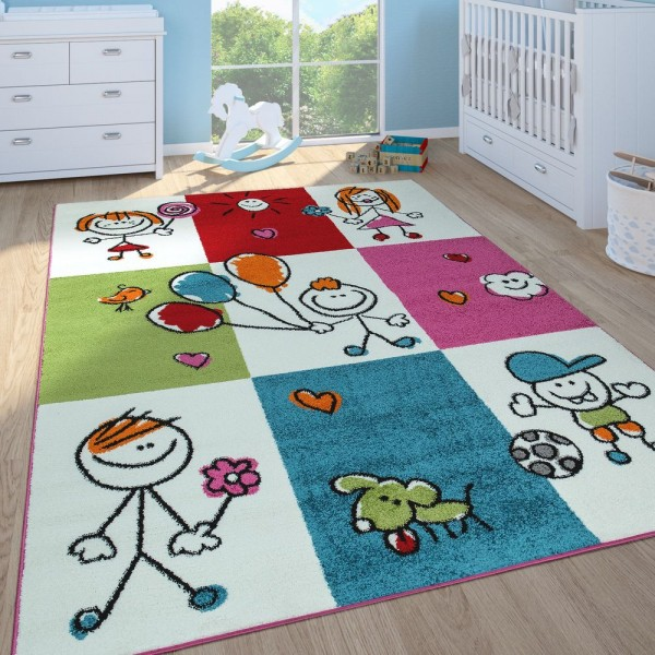 Kinderteppich Mädchen Jungen Kinderzimmer Spielteppich Kurzflor Figuren in Creme