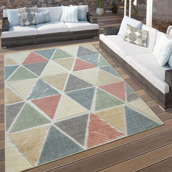 In- & Outdoor Terrassen Teppich Rauten Muster Modern Geometrisches Design Bunt