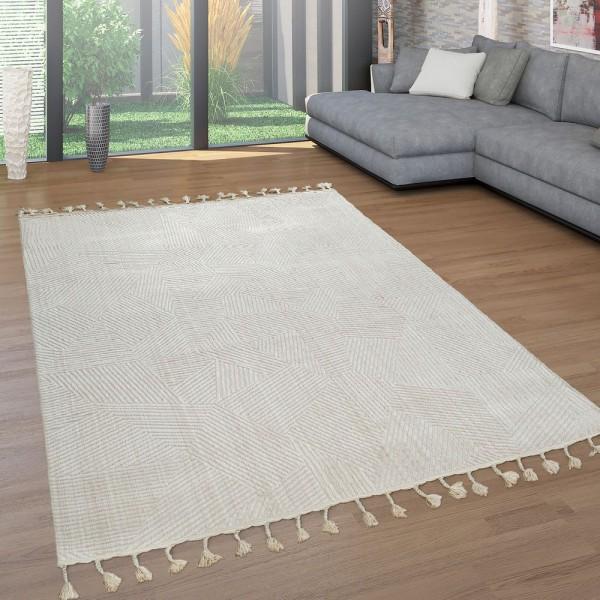 Retro Teppich Beige Creme Wohnzimmer Weich Fransen Abstraktes Design 3-D Muster