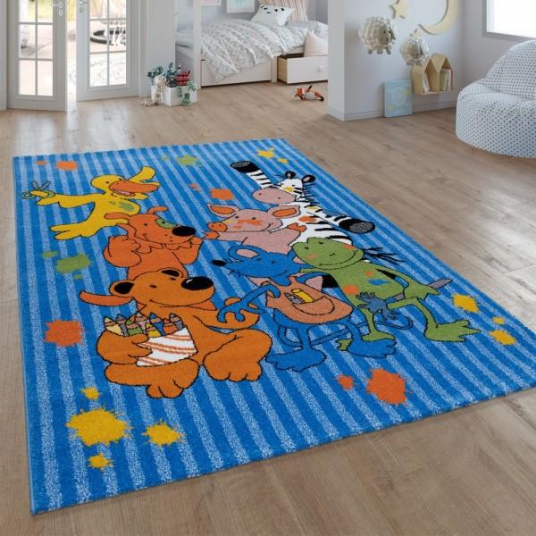 Kinder-Teppich, Kurzflor Für Kinderzimmer, Mit Sieben-Lieben-Motiv, In Blau