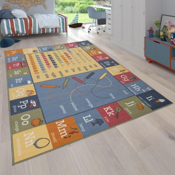 Kinder-Teppich, Wendbarer Teppich Mit Landschafts-Design und Lern-Motiven, Bunt