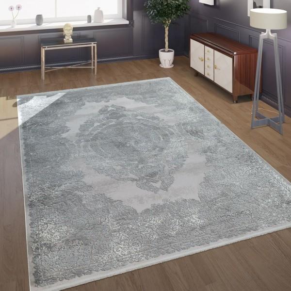 Teppich Wohnzimmer Grau Orient Muster 3-D Effekt Antike Ornamente Kurzflor