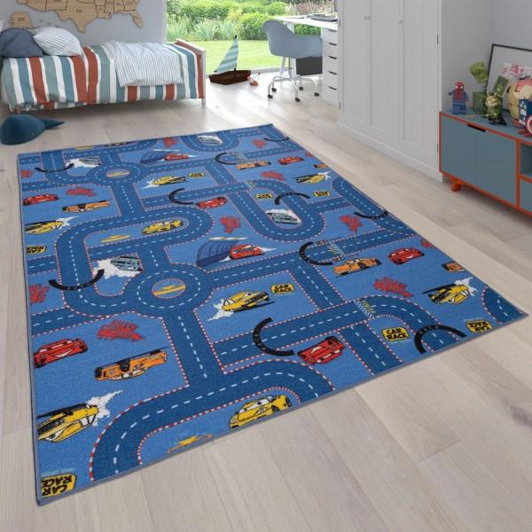 Kinder-Teppich, Wendbarer Teppich Mit Straßen-Design und Auto-Motiven, In Blau