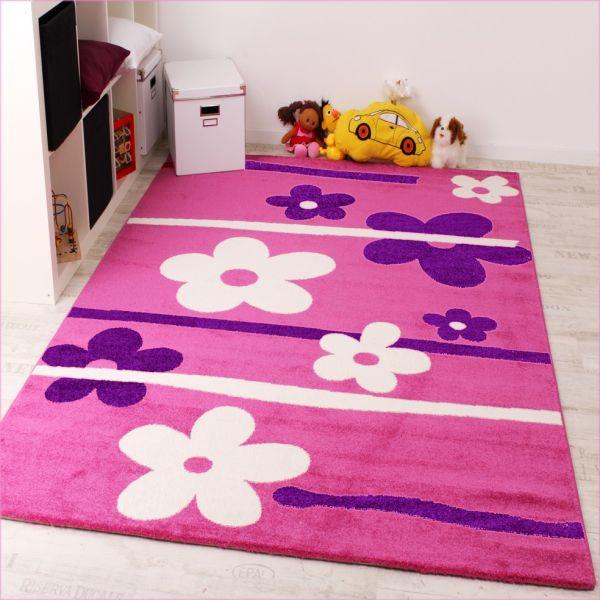 Kinderteppich Blumen Muster Pink Lila Weiss