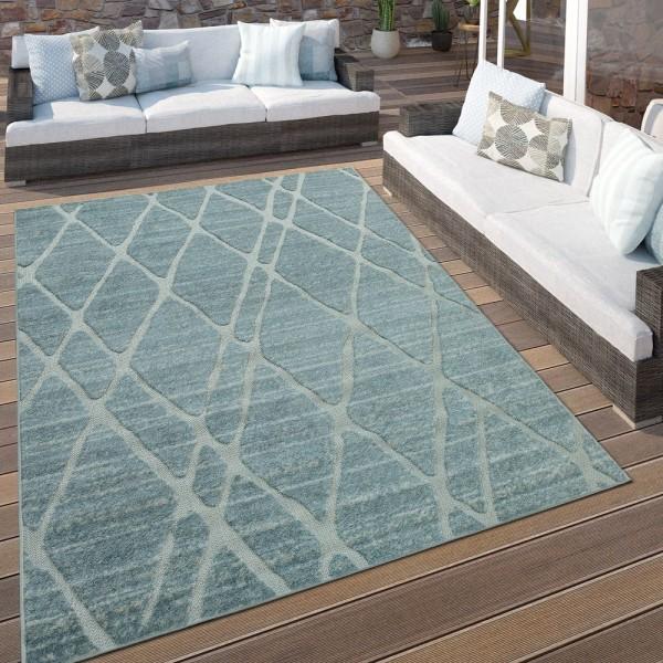 In- & Outdoor Terrassen Teppich Modernes Rauten Design Türkis Blau Weiß