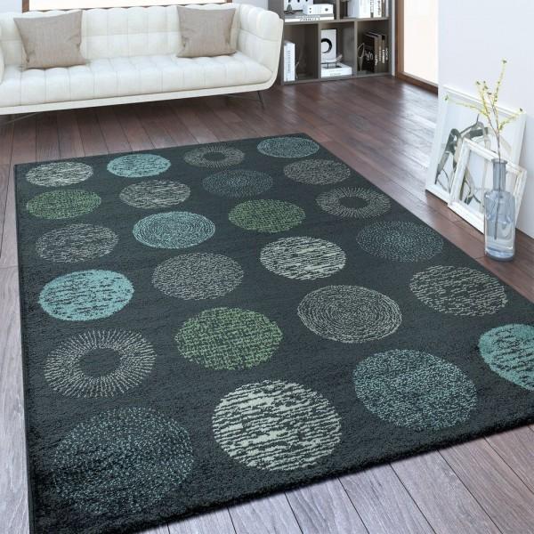 Designer Teppich Kreis Muster Anthrazit