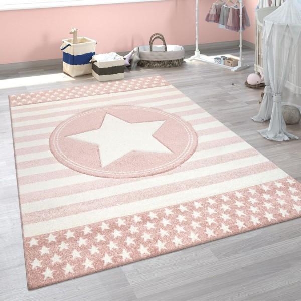 Kinderzimmer Spielteppich Rosa 3-D Streifen Muster Pastell Stern Design Robust