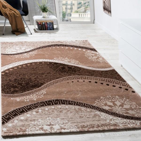 Designer Teppich Klassische Wellen Mit Ornamente Beige AUSVERKAUF