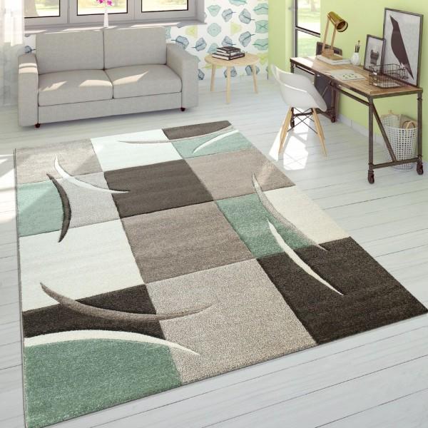 Designer Teppich Modern Konturenschnitt Pastellfarben Mit Karo Muster Beige Grün