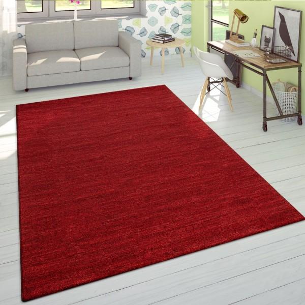 Wohnzimmer-Teppich Kurzflor, Einfarbig, Helle Akzente, Meliert In Rot