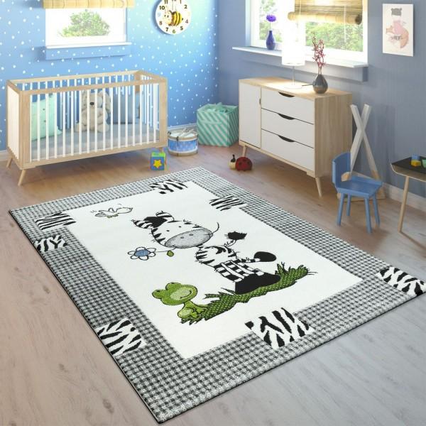 Kinderteppich Kinderzimmer Konturenschnitt Süßes Zebra Kariert Creme Grau