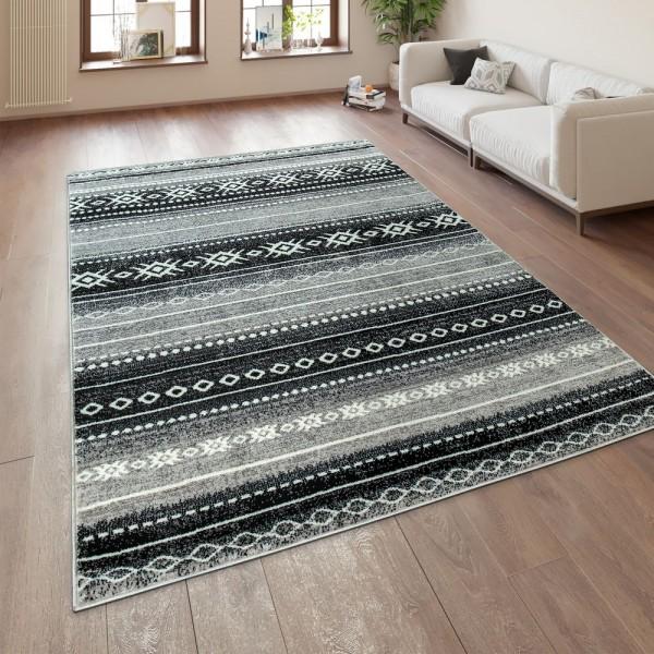Orient Teppich Wohnzimmer Weich Grau Schwarz Weiß Ethno Design Streifen Muster