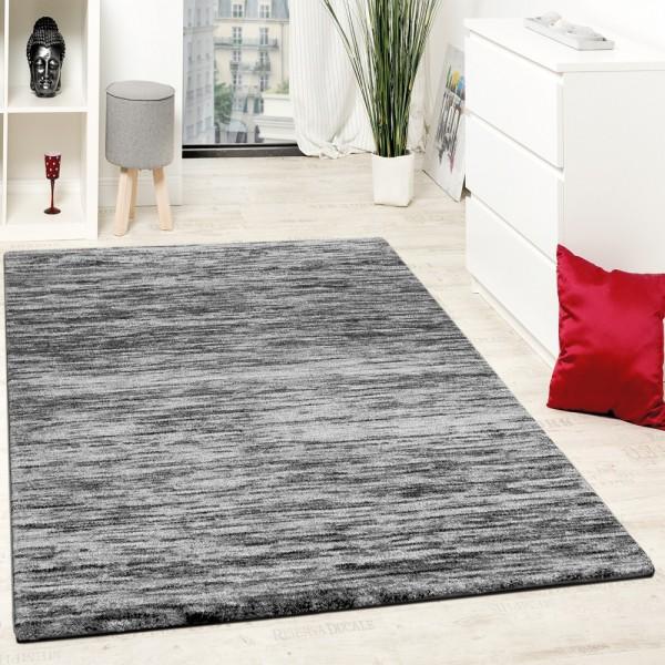 Teppiche Modern Wohnzimmer Teppich Spezial Melierung Grau Schwarz Meliert