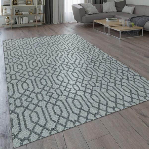 Teppich Küche Grau Wohnzimmer Flur Flecht Muster Web Design Skandi Look
