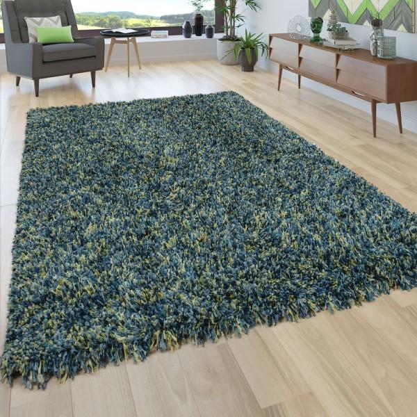 Hochflor Teppich Wohnzimmer Shaggy In Petrol Blau Senf Gelb Langer Weicher Flor