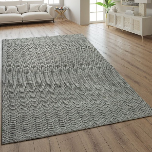 Teppich Webmuster Handgefertigt Einfarbig Taupe