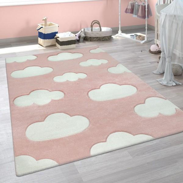 Kinder Teppich Weiß Rosa Kinderzimmer Pastellfarben Wolken Design Kurzflor 3-D