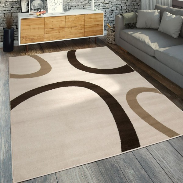Moderner Kurzflorteppich Geometrisches Design Creme