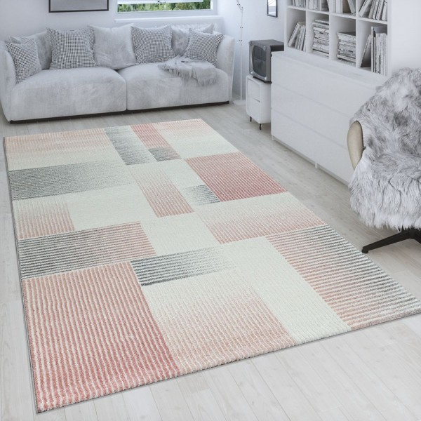 Wohnzimmer-Teppich, Kurzflor Mit Linien Und Karo-Muster, In Pastell Rosa