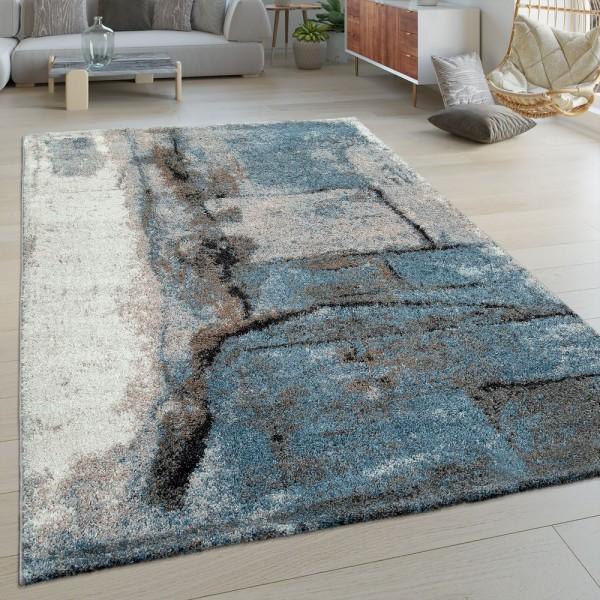 Kurzflor Wohnzimmer Teppich Modern Abstraktes Design Stein Muster In Blau Grau