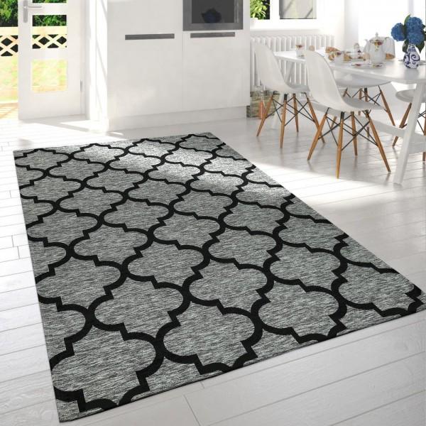 Moderner Kurzflor Wohnzimmer Teppich Marokkanisches Design Meliert Grau Schwarz