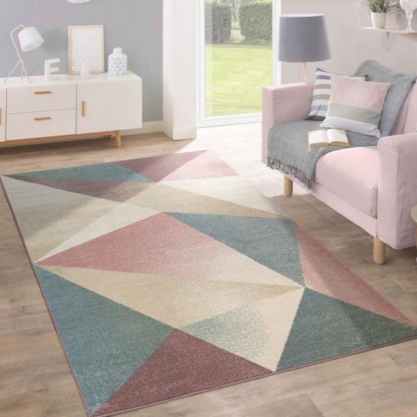 Teppich Wohnzimmer Kurzflor Modern Geometrisches Design In Pastell Ausverkauf