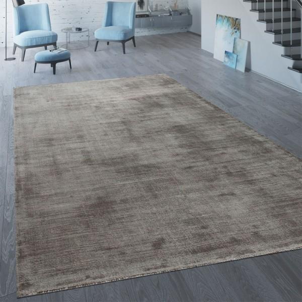 Handgefertigter Vintage Teppich Einfarbig Taupe