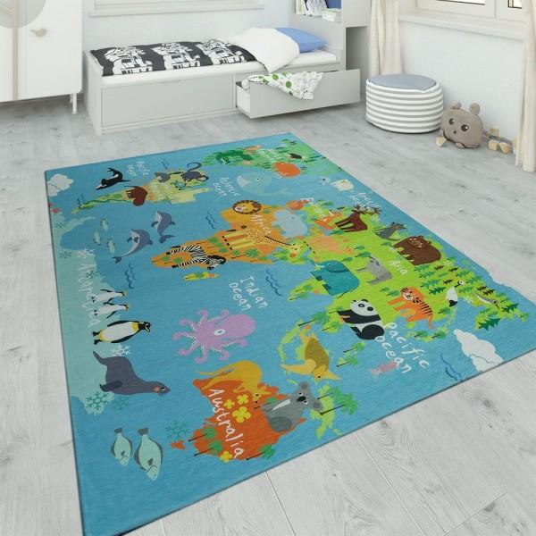 Kinderteppich Spielzimmer Weltkarte Mit Tieren Blau